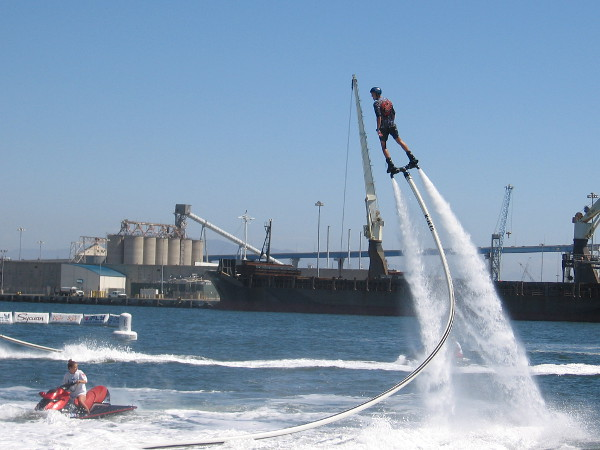 There was a fun demonstration by two daredevil water jetpack guys.