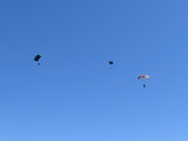 Three guys demonstrated zooming through the San Diego sky in wingsuits. They looked to me like flying squirrels. Unfortunately, I got my photo after their chutes deployed.