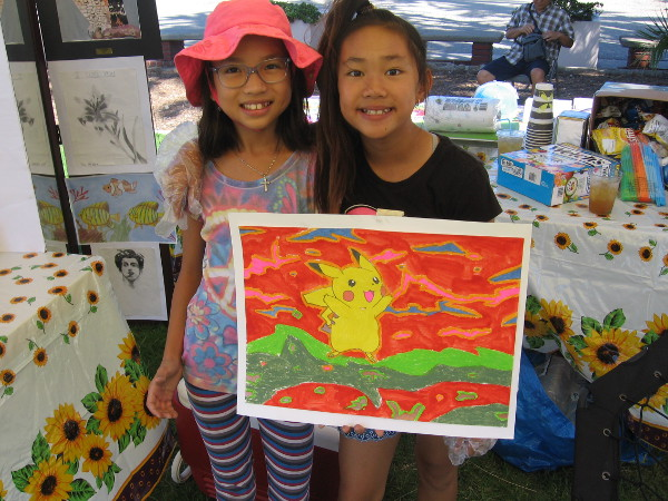 Pikachu and two young artists at the San Diego Kidpreneur Expo!
