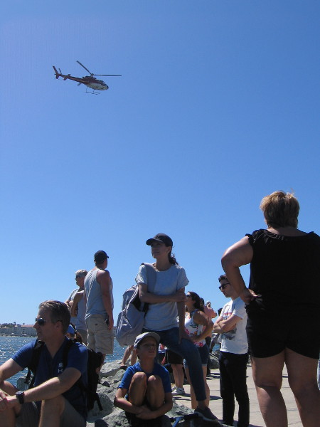 Helicopters were flying back and forth across the bay during much of the event. The Swoop Freestyle competition is about to resume.