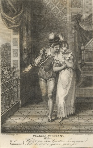 19th Century engraving depicting Count Almaviva and Susanna in Act 3 of The Marriage of Figaro. Photo courtesy Wikimedia Commons.