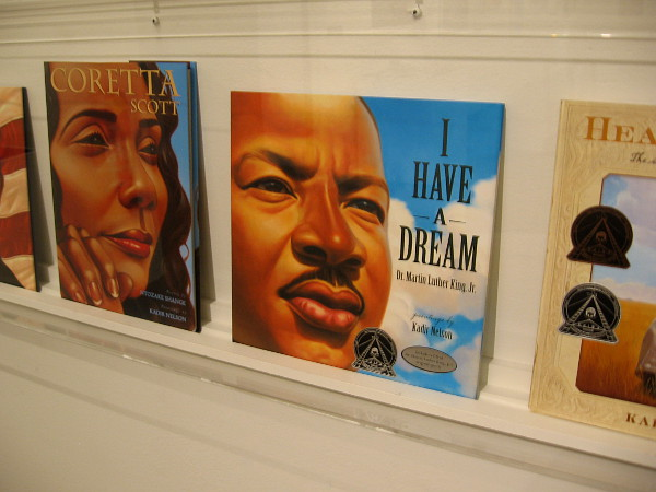 Displayed in the exhibition are seven books featuring the bold, powerfully moving artwork of Kadir Nelson.