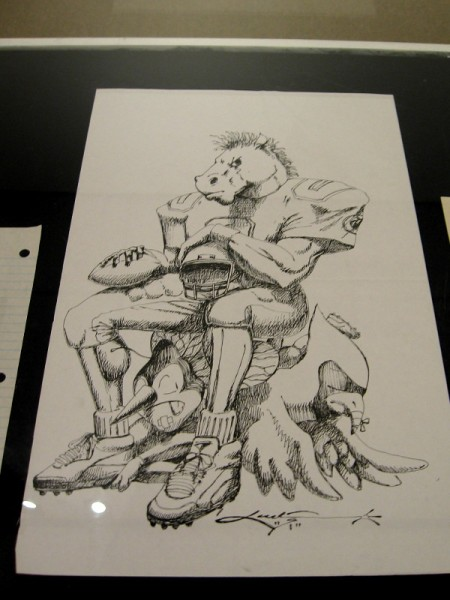 A drawing by Kadir Nelson from his teen years. Crawford Horse Sitting on Mascots, 1991, pen and ink on paper.