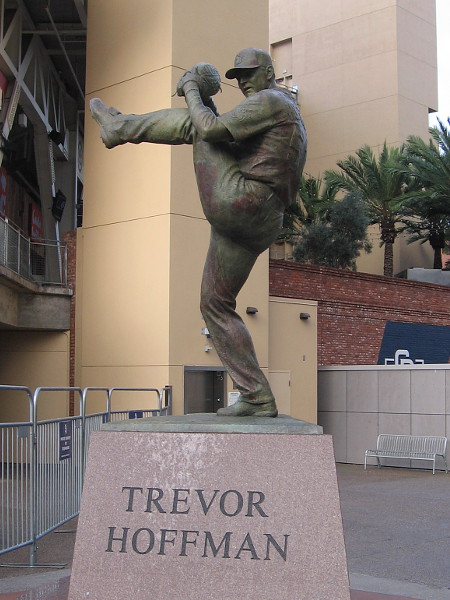 Statue of National Baseball Hall of Fame relief pitcher Trevor Hoffman at Petco Park, home of the San Diego Padres.