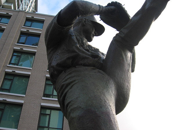 The high leg kick of Hall of Fame relief pitcher Trevor Hoffman immortalized in bronze.