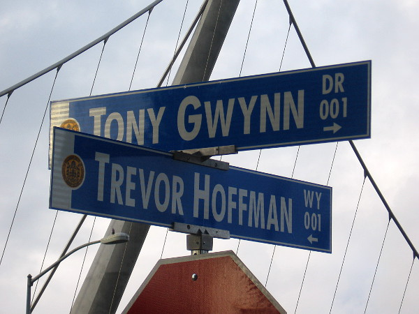 Two legends of baseball intersect at Tony Gwynn Drive and Trevor Hoffman Way, just outside Petco Park.