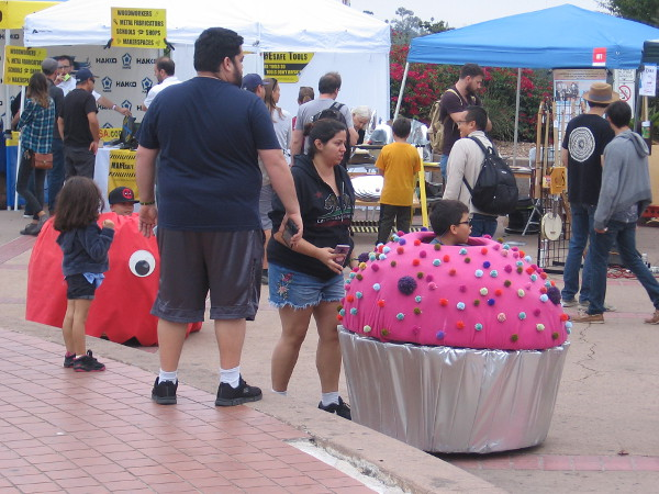 Kids were riding cupcake cars around the Plaza de Balboa during the annual maker event.