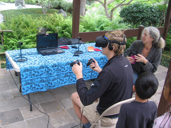 People were testing out virtual reality at the Japanese Friendship Garden during Maker Faire San Diego.