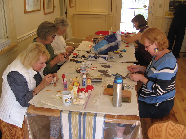 Ladies were making crafts inside the House of Sweden at the International Cottages. Perhaps they should have been a part of Maker Faire San Diego!