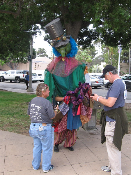 Alastair, The Great Fairy Tinkerer hangs out in front of the future Comic-Con Museum in Balboa Park.
