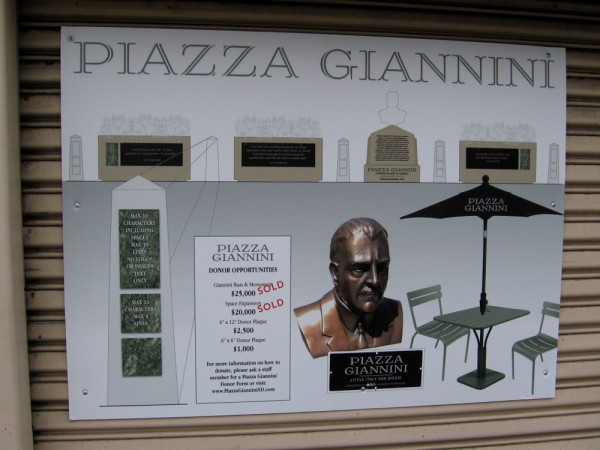 A sign at Piazza Giannini explains how donors can purchase plaques in this new public space.