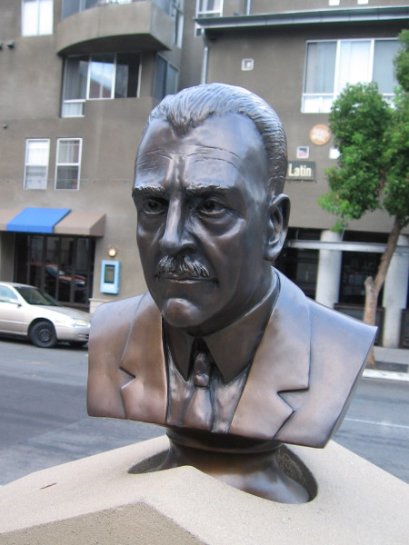 The bronze bust of Amadeo Pietro Giannini at Piazza Giannini in Little Italy.