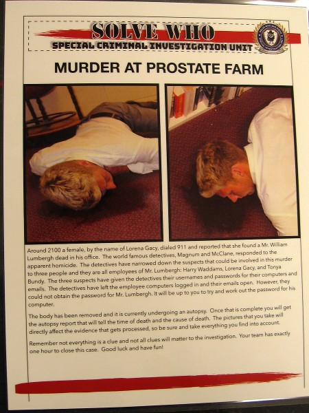 A crime scene at Solve Who titled Murder at PROstate Farm. A team of detectives gathers clues, watches video interrogations of three suspects, then deliberates to determine who the murderer is.