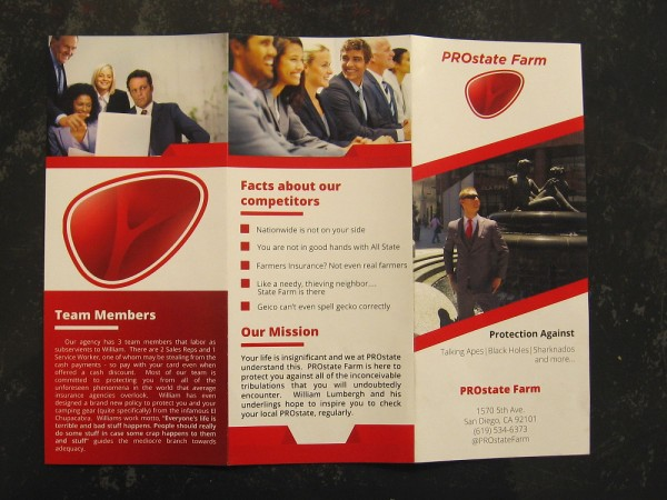 The funny, satirical brochure of PROstate Farm. The insurance agent was murdered, and his three employees are suspects.