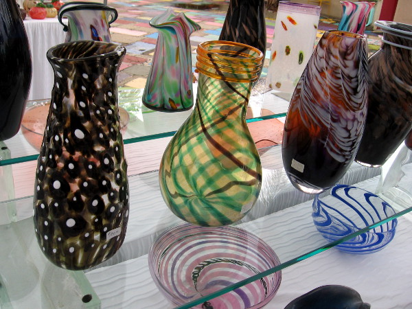 Beautiful works of art on display at the Glass Show and Sale in Spanish Village.