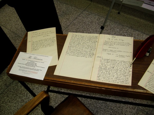 One document on display is the Charter for the City of San Diego by the Board of Freeholders elected December 5, 1888.