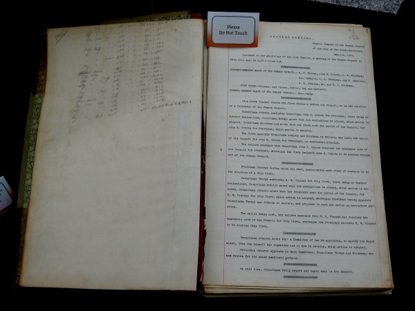 Record of Common Council no. 22, May 1, 1905 - October 2, 1905. Typed Minutes.