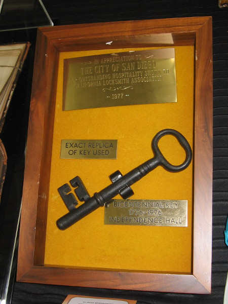 Exact replica of the Bicentennial Key, 1776-1976, Independence Hall. It was presented by the California Locksmith Association to The City of San Diego.