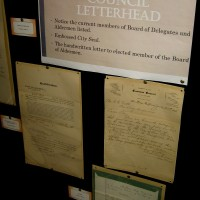 Historical exhibit features archives at City Hall.