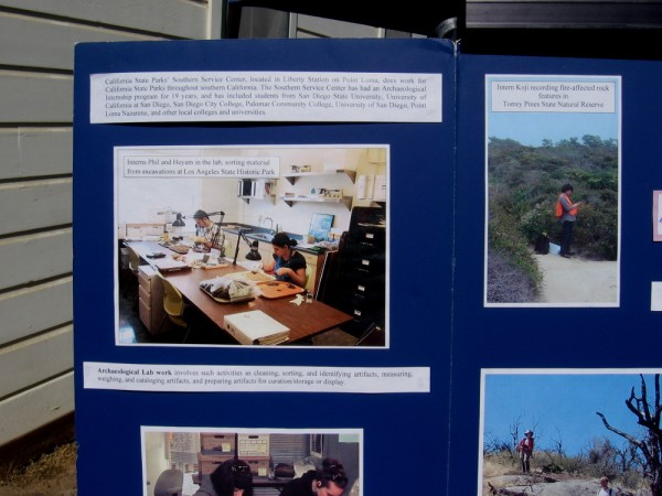 Another California State Parks display shows interns at work sorting and identifying material from excavations in Southern California.