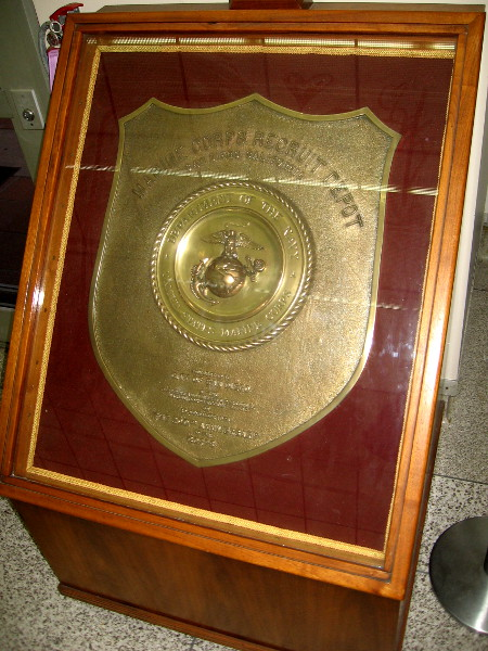 A large plaque presented by Marine Corps Recruit Depot to the City of San Diego commemorates the 200th Anniversary of the United States Marines.