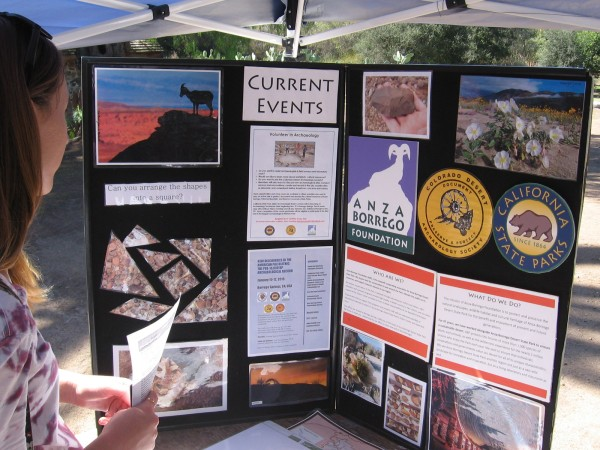 A display contains info regarding the Anza Borrego Foundation and the Colorado Desert Archaeology Society.