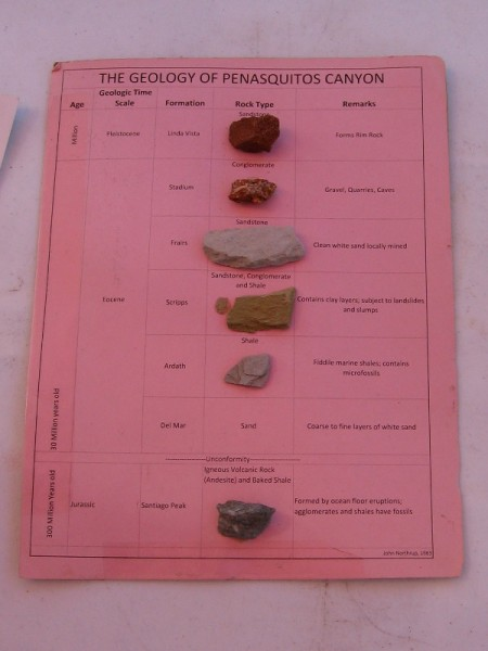 Rock samples from different geological formations in Penasquitos Canyon.