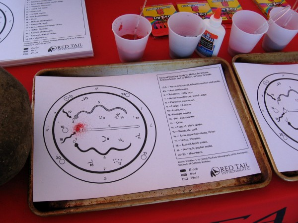 At Red Tail Environmental's table, kids could create sand art based on a ground painting by Native Americans at Mesa Grande.
