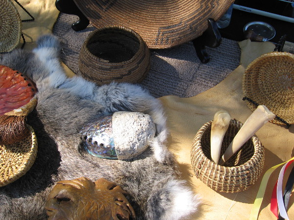 Some artifacts on display created by Native Americans from San Luis Rey. Two of the baskets (near the top of this photo) were made in the 1800s.