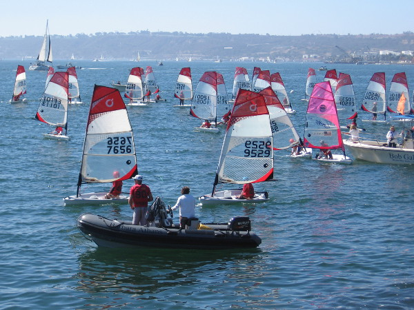 Kids as young as ten years old learn about sailing competitively on the fun little O'pen BIC sailboats.