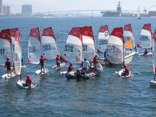 O'pen BICs in close competition off Harbor Island.