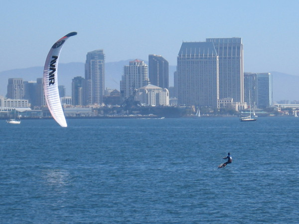 Next came a kite boarding exhibition and race, with downtown San Diego's skyline as the backdrop.