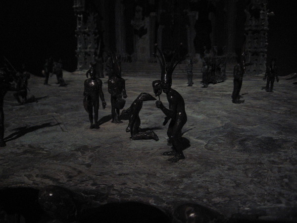 Close photo of bronze figures of Tim Shaw's Middle World.