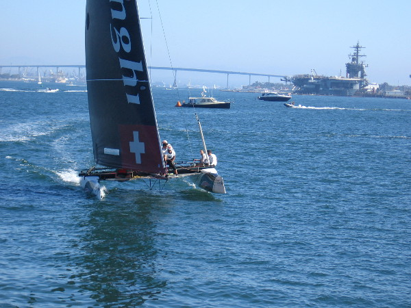 Here they come again! Alinghi, the Swiss team, seems to always be in front. Their crew members have won multiple America's Cup titles.