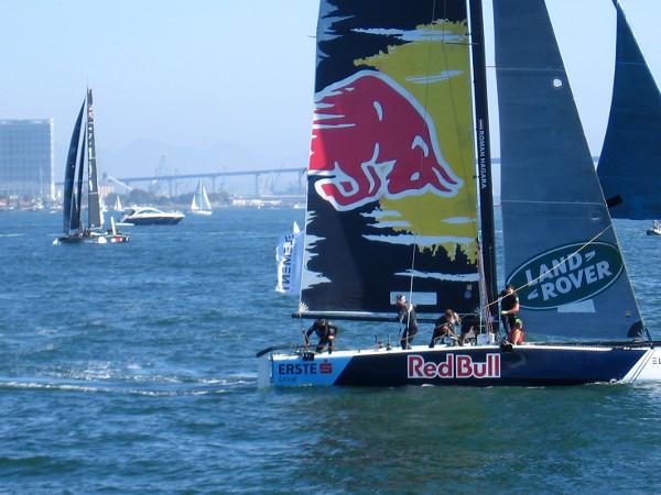 Action aboard Red Bull's GC32 catamaran.