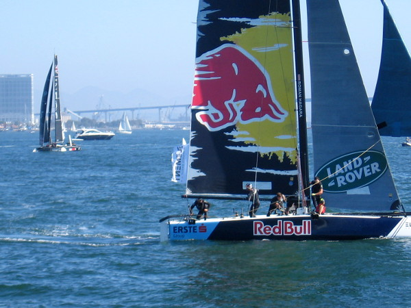 Action aboard Red Bull's GC32 catamaran.
