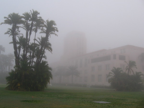 Mysterious photograph of foggy Waterfront Park and the County Administration Building.