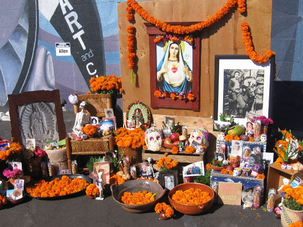 A traditional Día de los Muertos altar remembers loved ones who've passed from this life.