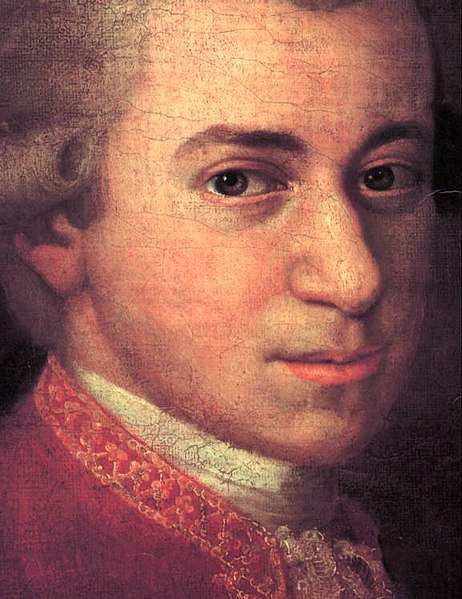 Mozart c. 1780, detail from portrait by Johann Nepomuk della Croce. Photo courtesy Wikimedia Commons.