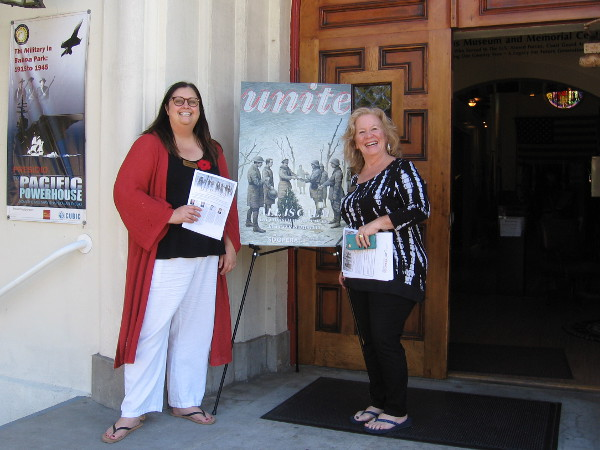 These smiling ladies welcomed me to the Veterans Museum at Balboa Park, where a few parts of the opera All Is Calm were previewed.