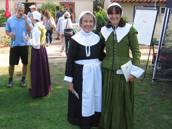 I'm welcomed to Plimoth Plantation West in Balboa Park by two descendants of Mayflower Pilgrims!