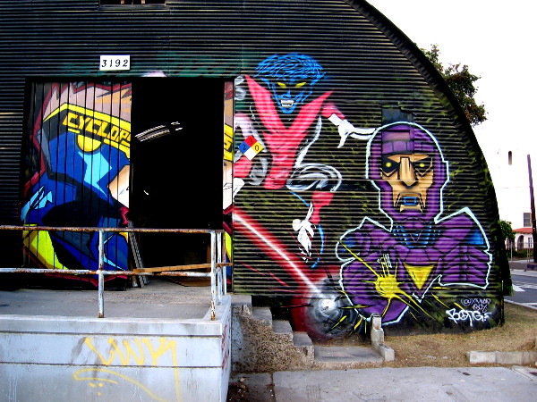 Cyclops, Nightcrawler and Sentinel street art in Logan Heights.