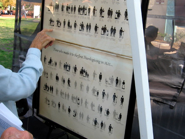 Someone points to a chart showing the original Mayflower passengers. Less than half survived and made it to the first Thanksgiving in 1621.