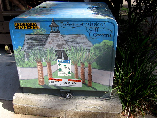 Transformer box painted with an image of The Pavilion at Mission Cliff Gardens.