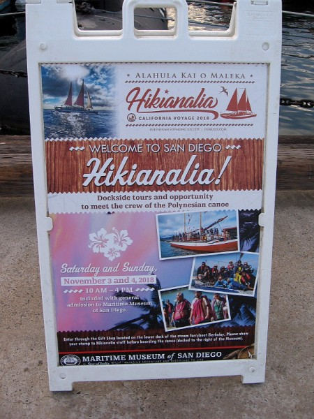 Hikianalia is welcomed to San Diego during its California Voyage. The public can enjoy weekend tours of the canoe at the Maritime Museum.