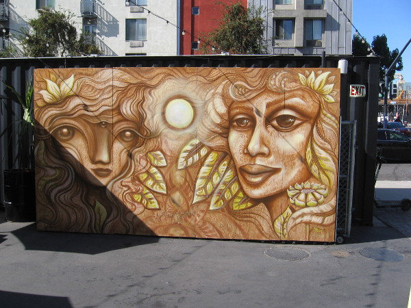 A beautiful mural by local artist Gloria Muriel just inside the entrance to Quartyard in East Village.