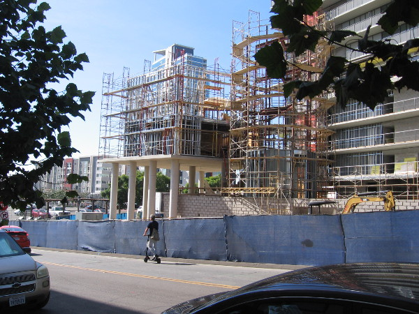 The 23-story K1 San Diego luxury apartment building is currently under construction just east of the downtown Central Library.