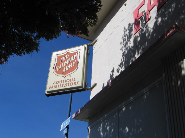 Standing beside the south wall of The Salvation Army Boutique Family Store at the corner of Park Boulevard and E Street.