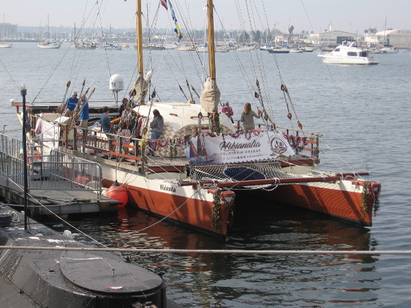 Visitors check out the Hikianalia during its visit to San Diego.