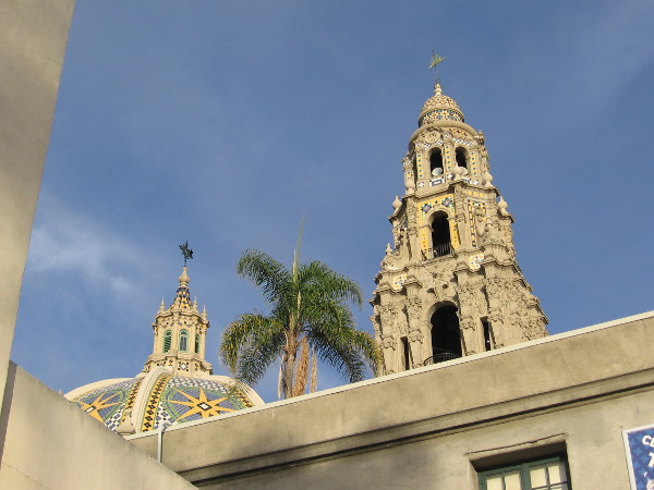 The historic California Tower rises into the blue sky above San Diego's beautiful Balboa Park.